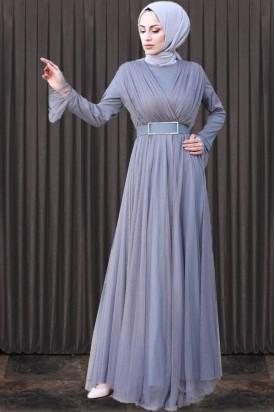 Abiye Elbise Gri Taş Tokalı Series