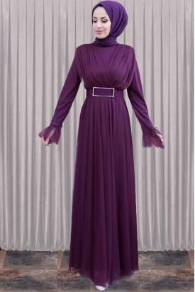 Abiye Elbise Mor Taş Tokalı