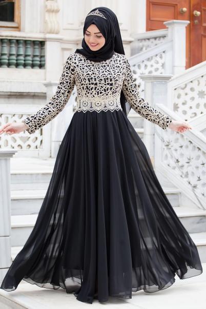 Abiye Elbise Siyah Kafes Dantelli