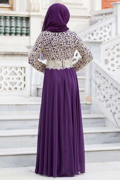 Bayan Abiye Elbise Dantelli Mor Gold