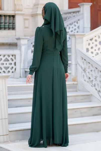 Şal Kombinli Zümrüt Abiye Elbise