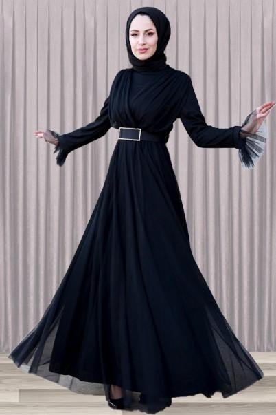 Siyah Tesettür Abiye Elbise Taş Tokalı