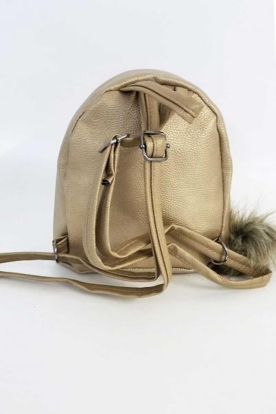 Bayan Sırt Çantası Bej Pullu Mini Çanta