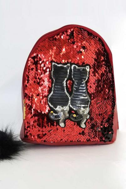 Bordo Pullu Mini Sırt Çantası