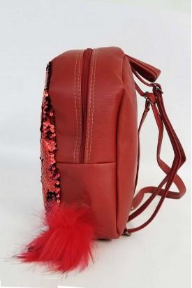 Sırt Çantası Kırmızı Pullu Mini Çanta