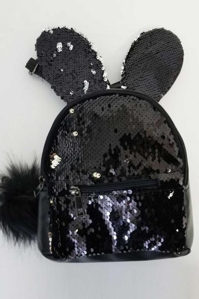 Pullu Tavşan Mini Sırt Çantası Siyah
