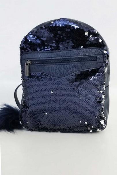 Sırt Çantası Lacivert Pullu Mini Çanta