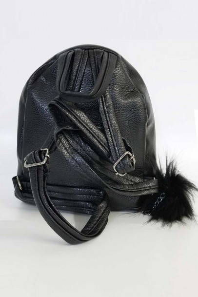 Bayan Sırt Çantası Siyah Pullu Mini Çanta