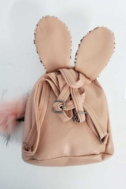 Pullu Tavşan Mini Sırt Çanta Bej
