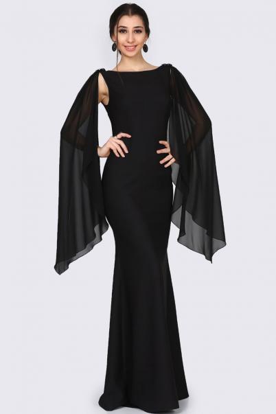 Abiye Elbise Siyah Omuz Taş Detaylı