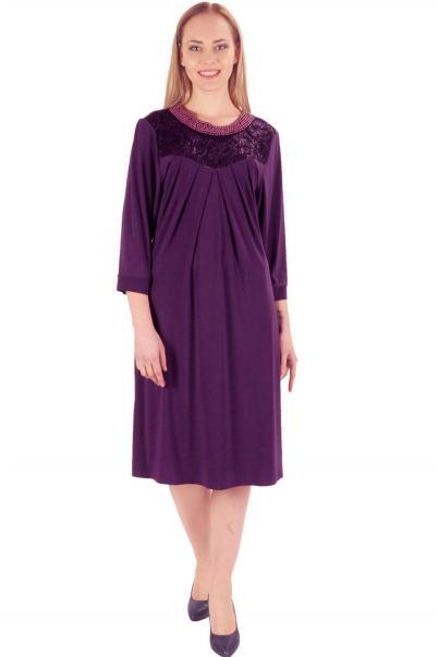 Battal Beden Dantel inci detaylı mor bayan elbise