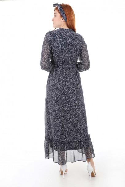 Puantiyeli Günlük Şifon Elbise