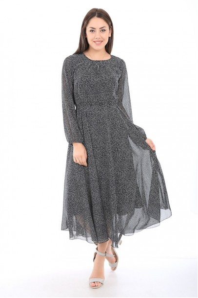 Bayan Günlük Şifon Siyah Benekli Elbise