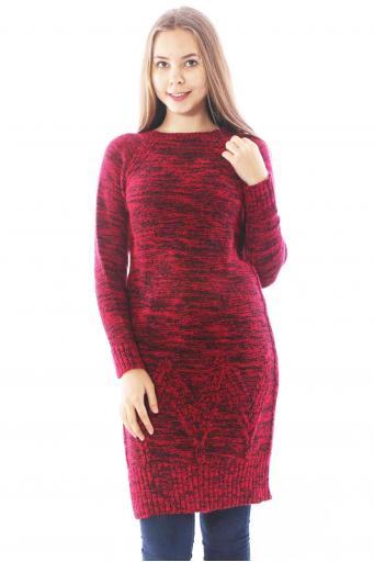 Bayan Triko Elbise Kırmızı Siyah Kırçıllı