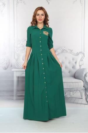 Bayan Uzun Elbise Ön Düğmeli Cepli