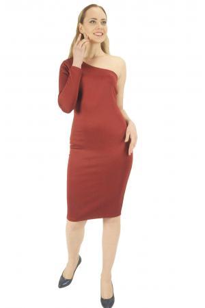 Bordo kol detaylı elbise