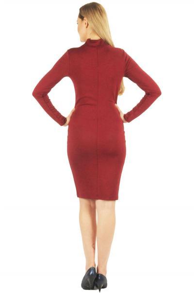 Bordo tül detaylı elbise
