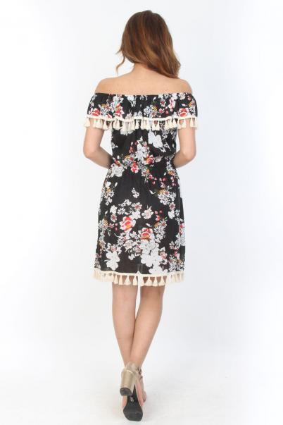Kısa Baskılı Desenli Elbise Dantel Detaylı