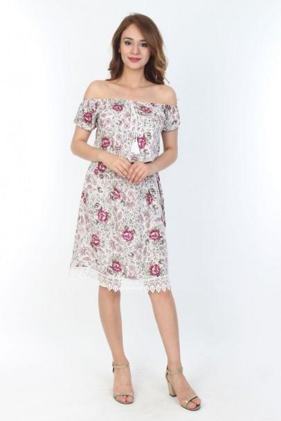 Elbise Baskılı Desenli Dantel Detaylı