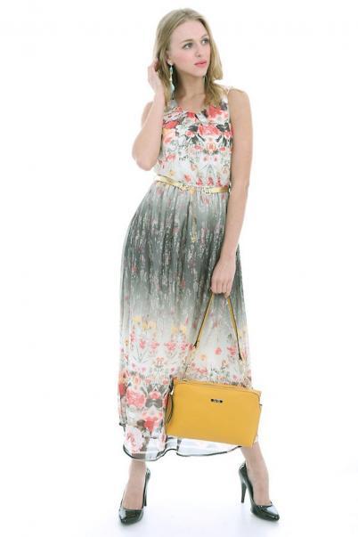Şifon Elbise Çiçek Desenli Kemerli Haki