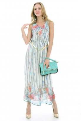Yazlık Elbise Kemerli Çiçek Desenli