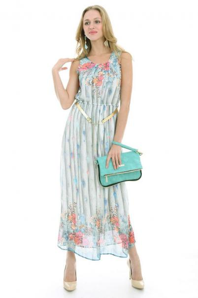 Elbise Kemerli Çiçek Desenli Mint
