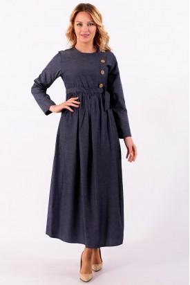 Elbise Kot Tarzı Yandan Düğmeli İndigo