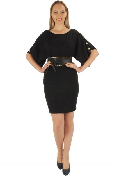 Kemer düğme detaylı bayan elbise