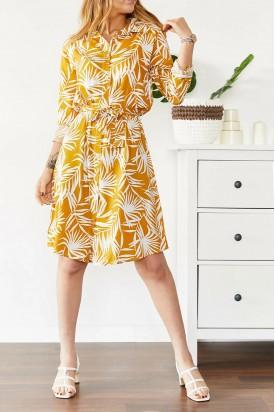 Elbise Hardal Gömlek Yaka Palmiye desen