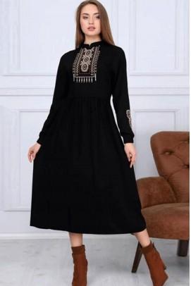 Günlük Elbise Robalı Siyah