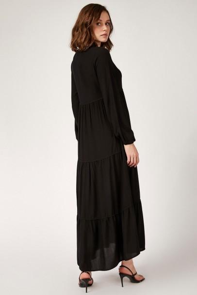 Robadan Viskon Elbise Siyah
