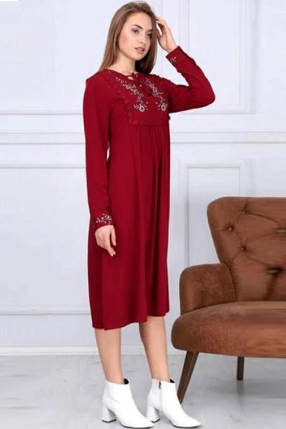Robalı Günlük Elbise Nakışlı Kırmızı
