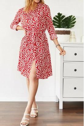 Yazlık Kısa Elbise kırmızı Beyaz Çiçekli