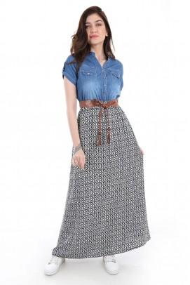 Mavi Kot Elbise Altı Desenli