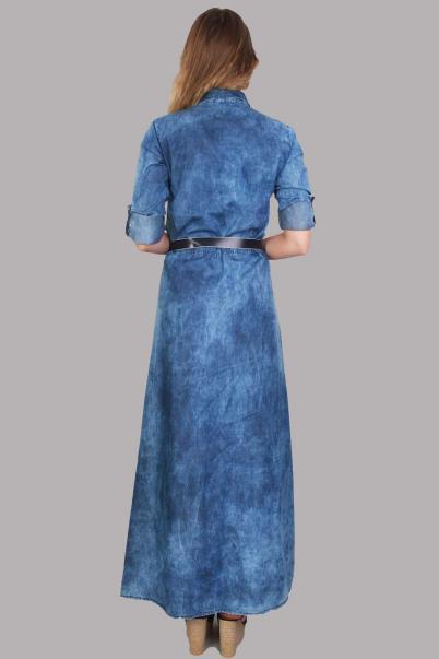 Kot Uzun Elbise Kemerli