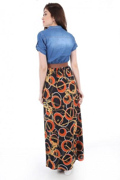 Mavi Kot Elbise Altı Çiçekli Desenli