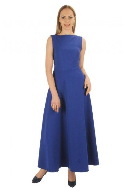 Saks uzun bayan elbise