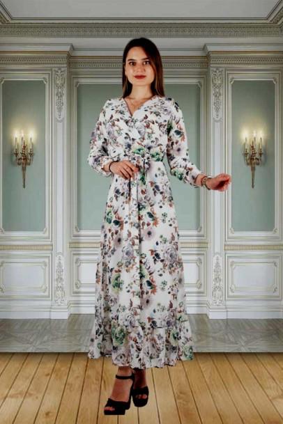 Çiçek Desen Şifon Elbise Ekru