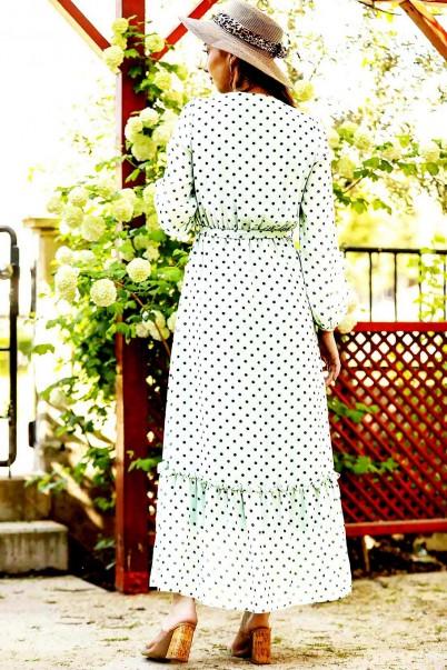 Uzun Elbise Şifon Beyaz Puantiyeli