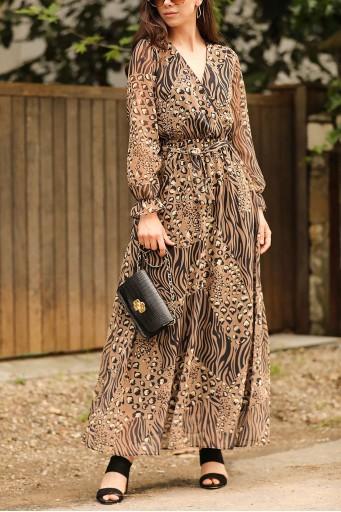 Uzun Şifon Elbise Leopar Desen