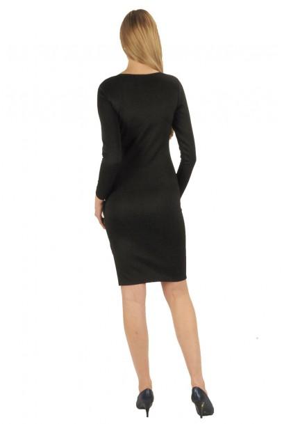 Siyah fermuar detaylı elbise