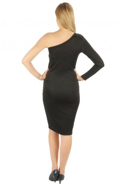 Siyah omuz detaylı bayan elbise