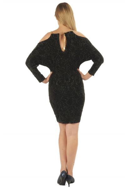Siyah Omuz Zincir Detaylı Bayan Elbise