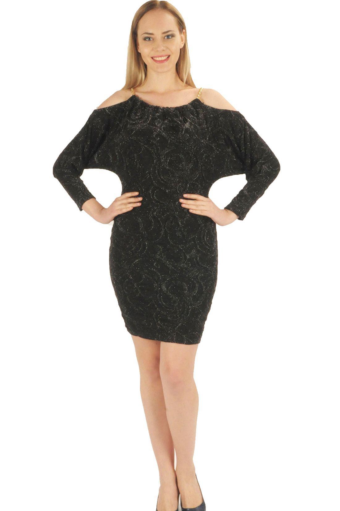 16279e84a901b Siyah Omuz Zincir Detaylı Bayan Elbise