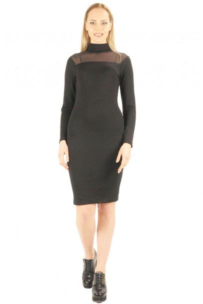 Siyah Tül detaylı bayan elbise