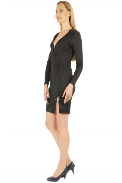 Siyah yırtmaçlı iğne detaylı bayan elbise