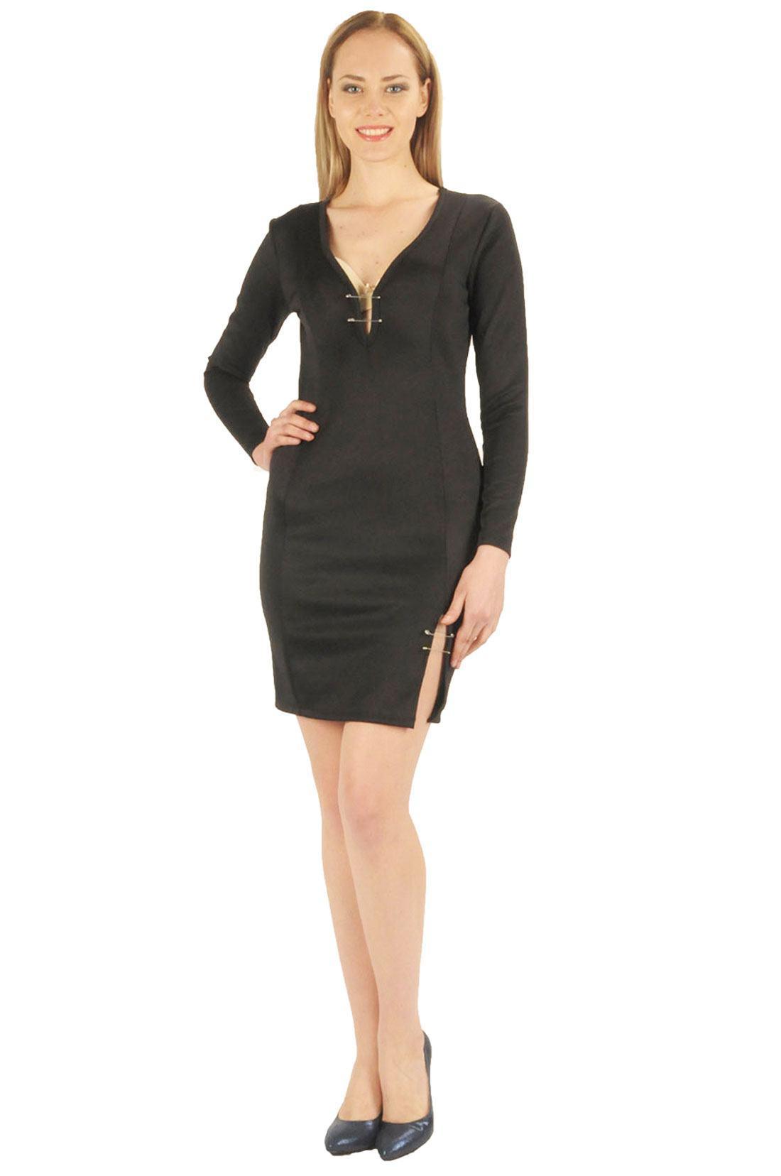 9705c66e9430b Siyah yırtmaçlı iğne detaylı bayan elbise