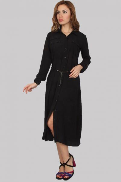 Uzun Elbise cepli Önü Düğmeli