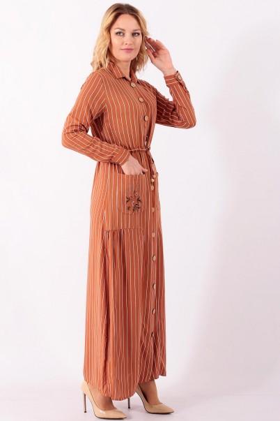 Boydan Uzun Kadın Elbise Çizgili