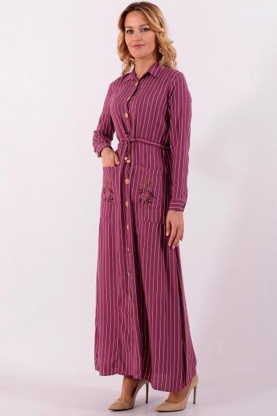 Çizgili Boydan Uzun Elbise